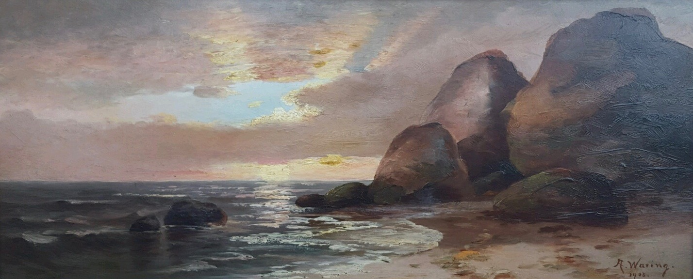 Seascape – Sunset by A. Waring